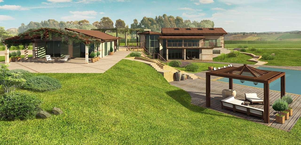 Pescia Romana, in terreno agricolo di 3,5 ettari , piano di sviluppo depositato in comune per finire la costruzione di due rustici. Rendering in foto Rif. 7479918