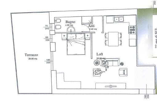 CASTROCARO TERME. Appartamento-Loft al piano terra completamente da ristrutturare adatto per singolo o coppia. Ingresso indipendente, cantina al piano interrato, terrazzo.